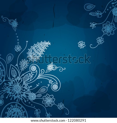 Flower vector background. Vintage floral card. Vintage background, white ornament, blue and white frame, beautiful old paper, card, ornate cover page, label. Floral luxury ornamental pattern template. - stock vector