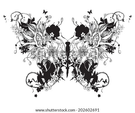 Flower vector butterfly black and white - stock vector