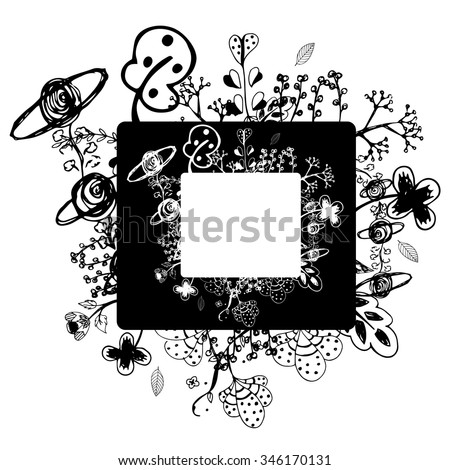 flower vector frame on free hand drawing sketch on white background