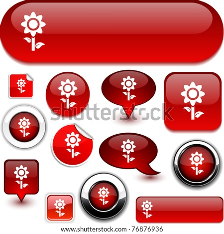 Flower vector glossy icons. - stock vector