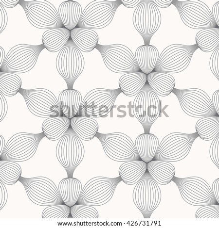 Flower Vector pattern, repeating abstract linear petal flower.  - stock vector