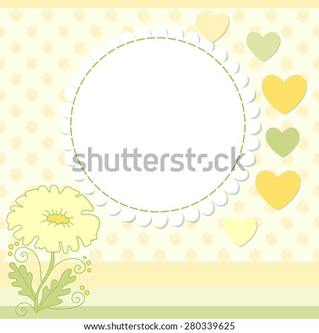 Flower vector photo frame. Cute scrapbook page. - stock vector