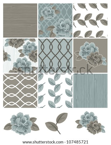 Flower Vector Seamless Patterns and Icons.  Use to create digital paper for craft projects or patchwork pieces for fabric. - stock vector