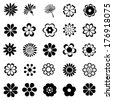 flower vector set, flora icon, floral set for decoration - stock vector