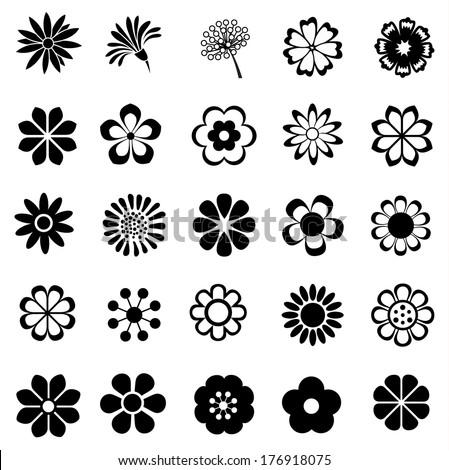 flower vector set, flora icon, floral set for decoration - stock vector