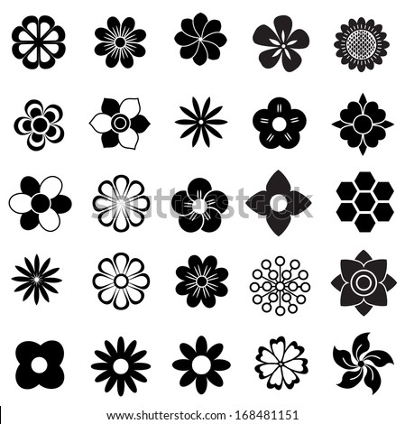 flower vector set, flowers icon for decorative and beauty design - stock vector