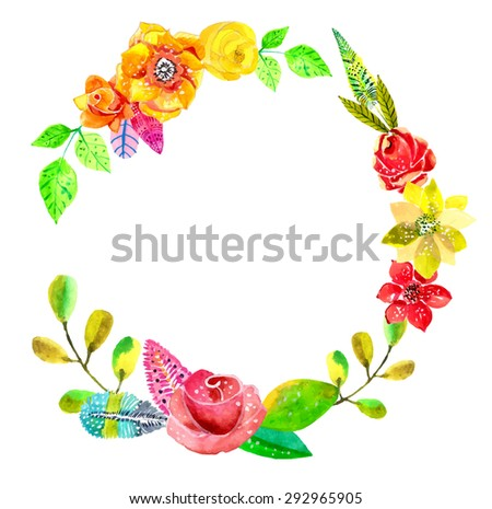 Flower watercolor wreath for beautiful design over white, Vector - stock vector