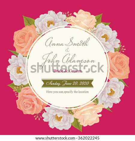 Flower wedding invitation card, save the date card, greeting card. Wedding card or invitation with roses background. EPS 10 - stock vector