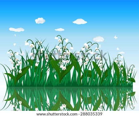 Flower with grass on water surface with reflection. EPS 10 vector illustration with transparency.
