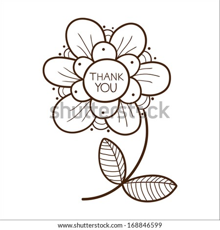 Flower with thank you text. Sketch vector illustration - stock vector