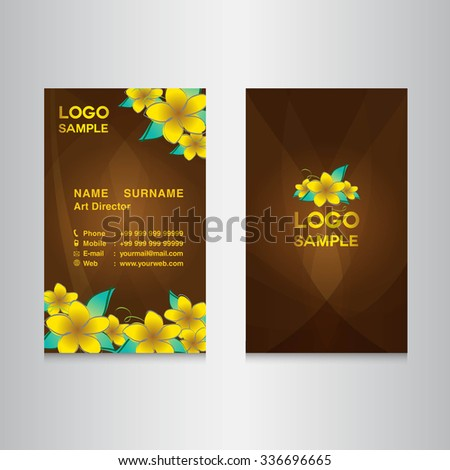 flower yellow Business card design,card design, vector illustration,brown background, flower vector,name card