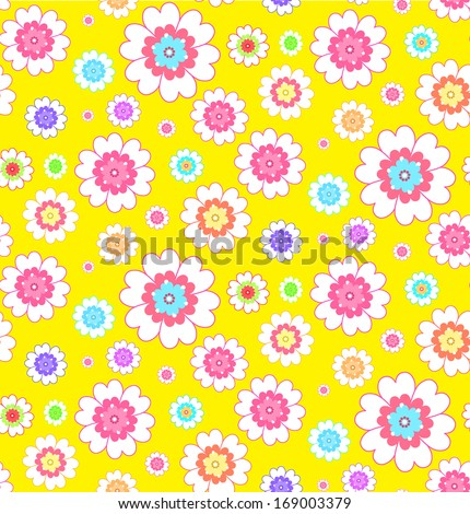 flower yellow seamless pattern