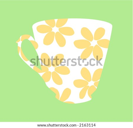 Flowered Teacup Design - Fully editable vector drawing - stock vector