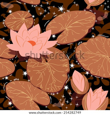 Flowering lotus. Seamless background with water lilies. Vector pattern. - stock vector