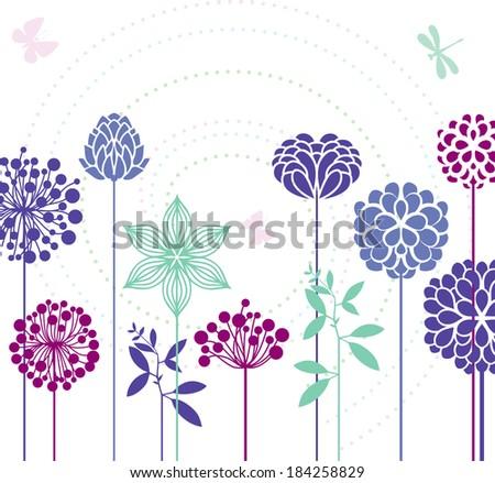 Flowers and butterflies - stock vector