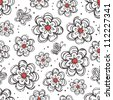 flowers and butterflies monochrome  seamless pattern - stock vector