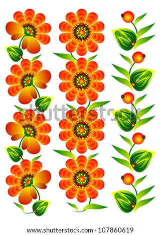 flowers and decorative elements collection folk red white background vector eps10 - stock vector