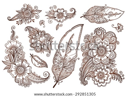 Flowers and feathers mehndi style vector designs set - stock vector