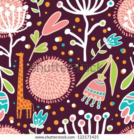 flowers and giraffes seamless pattern - stock vector