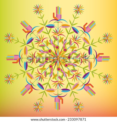 flowers and hands blooming as mandala composing - stock vector