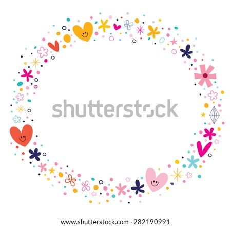 flowers and hearts frame - stock vector