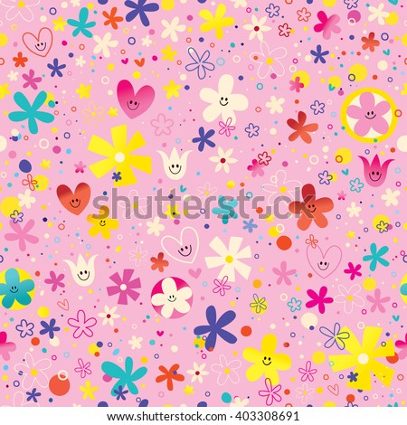 flowers and hearts nature love seamless pattern - stock vector