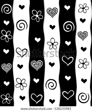 Flowers and hearts seamless pattern . Seamless stripped pattern. illustrations.