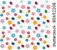 Flowers and ladybugs seamless background - stock vector