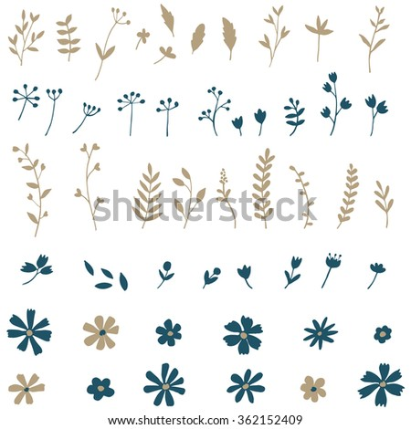 Flowers and leaves hand drawn silhouettes - stock vector
