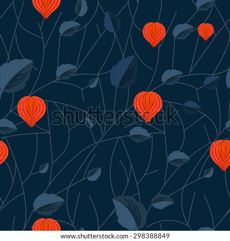 Flowers and leaves of Physalis seamless pattern. It can be used for fabric and wallpaper.