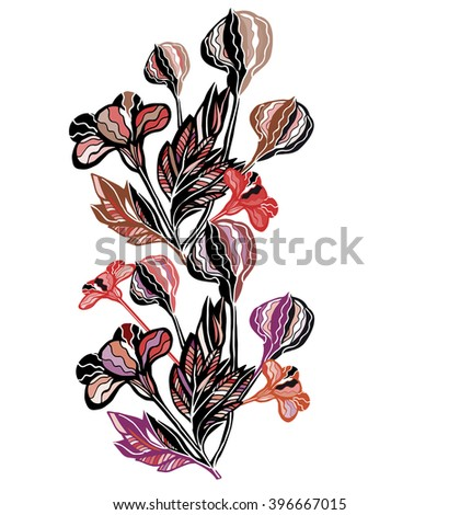 flowers and plants drawn by hand in a vector