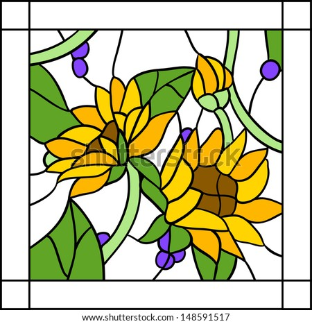 Flowers And Sunflowers With Buds In Stained Glass Window