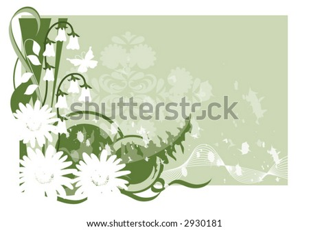 Flowers and swirl grunge background vector. - stock vector
