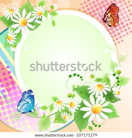 Flowers background with butterflies