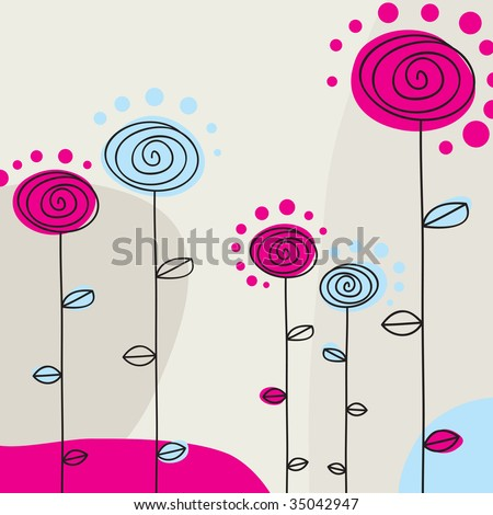 Flowers Background With Space For Text (vector). In the gallery also available XXL jpeg version of this image.
