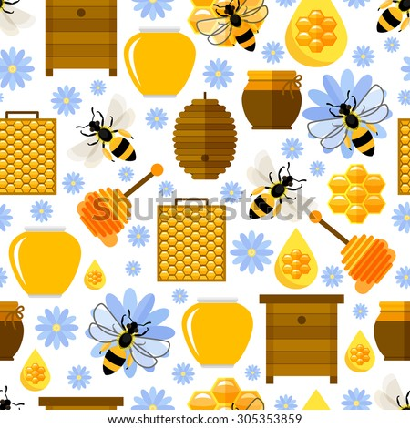 Flowers, bees and honey seamless background. Pollination and beeswax, natural comb, vector illustration