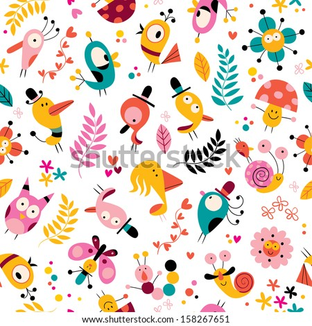 flowers, birds, mushrooms & snails characters nature pattern - stock vector