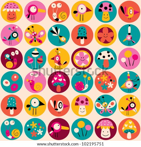 flowers, birds, mushrooms & snails pattern - stock vector