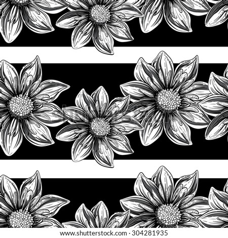 Flowers black and white outline. Seamless pattern in retro graphic style. - stock vector
