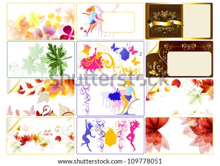 Flowers Business card templates for your elegant design. Vector cards