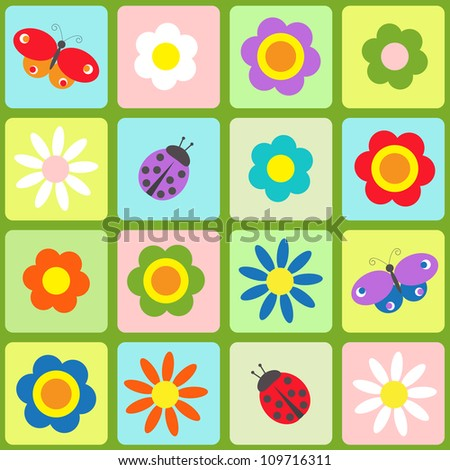 Flowers, butterflies and ladybugs. Seamless vector pattern - stock vector