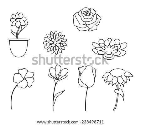 Flowers collection in black and white. Line Art-Vector illustration - stock vector