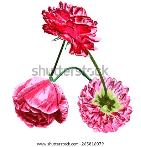 Flowers combined art font hand-painted - stock vector