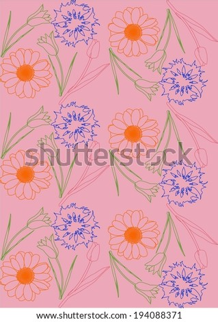 flowers, cornflower, daisy, tulip, vector, graphic, drawing, illustration, pattern - stock vector