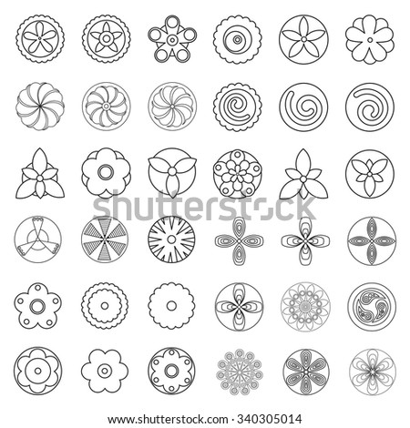 Flowers Design Element For Coloring Page Book Hipster Geometrical Circular Floral Elements