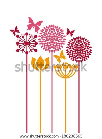 flowers design over  white  background vector illustration   - stock vector
