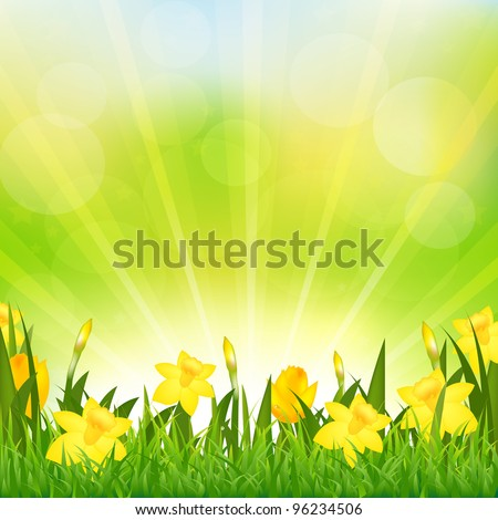 Flowers Easter Background, Vector Background - stock vector