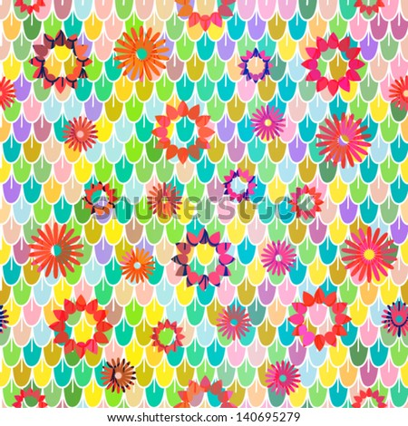 Flowers endless seamless pattern background texture
