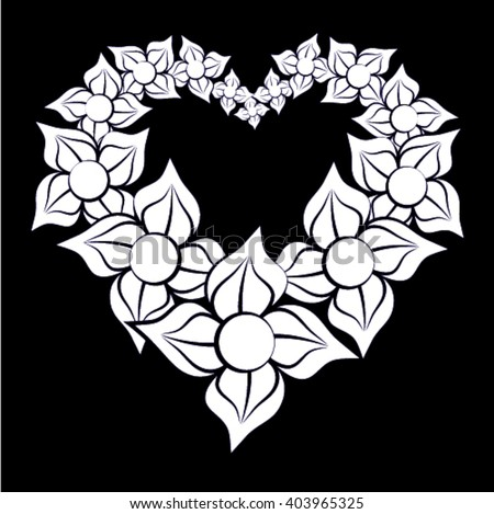 Flowers forming a heart on black background - stock vector