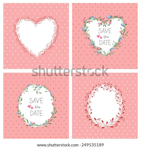 Flowers frame. Heart. Set. Vector retro  background. Floral romantic frame. Vintage background. Place for text. Invitation. - stock vector